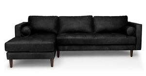 Sven Oxfford Black Right Sectional Sofa