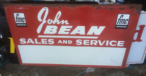 vintage original john bean sales and service advertising sign