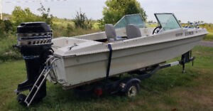 Trihull 85 hp Merc with trailer