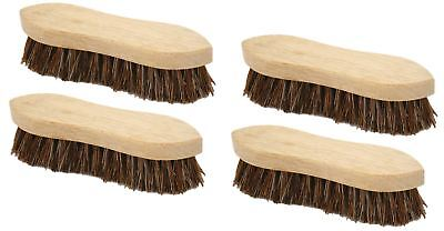 "4 x Traditional Floor Scrubbing Brushes Hard Bristle 8"" Wooden Hand Deck Broom"