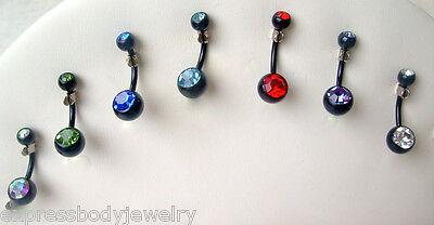 CZ Gem Navel Belly Ring 14g Black Titanium Clear Body Piercing Jewelry