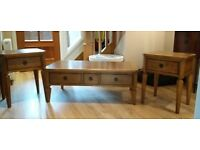 Oak coffee table with drawers and two matching lamp tables (can be sold seperately)