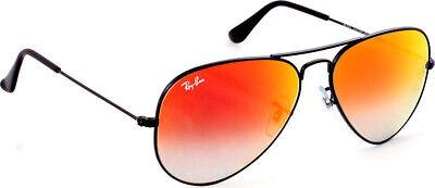 Ray-Ban Aviator RB3025 Unisex Black Frame Orange Gradient Mirror Lens Sunglasses ()