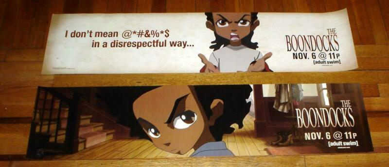 THE BOONDOCKS SUBWAY POSTER BANNER SET OF 2 HUEY AND RILEY FREEMAN RARE