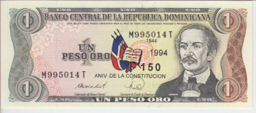 DOMINICAN REPUBLIC BANKNOTE P146A 1 PESO 1994 COMMEMORATIVE, SCARCE, UNC