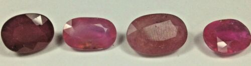 13.95 carats t.w. in 4 hybrid rubies, 10  x 8mm to 12.3 x 8.3mm # 15846