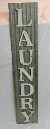 Vintage Laundry Sign Corrugated Metal Vintage Laundry Sign
