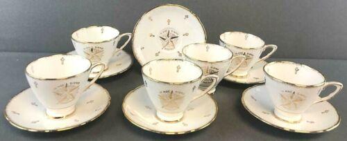 VTG Royal Stafford White Shrine Masonic Tea Cup Saucer 6 Sets Freemasons RARE