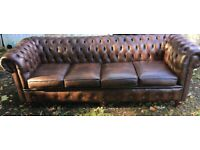 Good as new huge leather chesterfield sofa