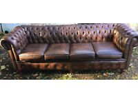 Stunning good as new 4 seater leather chesterfield sofa