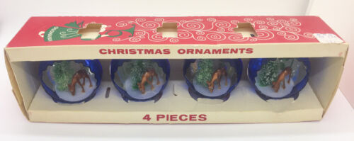 Vintage Jewelbrite Christmas Ornaments Diorama Deer With Tree - Set of 4 In Box