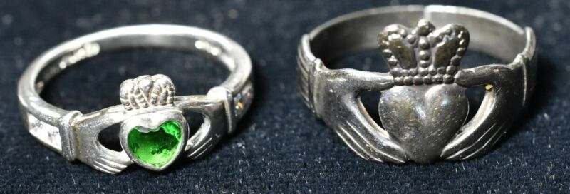 2 Sterling Claddagh Rings Size 6 Solvar & 1979 Size 7