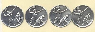 "4 Stück Zinn - Embleme "" Tennis Doppel Damen "" für Pokale od. Medaillen 5 cm"