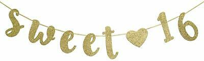 Sweet 16 Banners (Sweet 16 Birthday Banner Gold Glitter with Heart Sixteen Decoration)