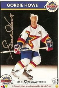 GORDIE HOWE AUTOGRAPHED ZELLERS MASTERS OF HOCKEY CARD