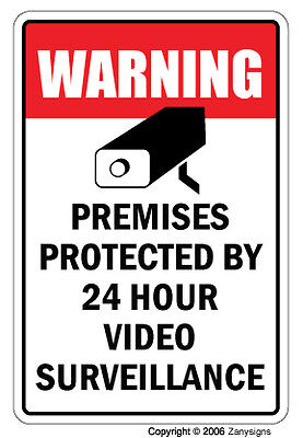 VIDEO SURVEILLANCE Sign Property Protected  24 Hour security protection warning on Rummage