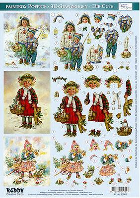 3D Stanzbogen Reddy Paintbox Poppets 83064 Kinder mit Laterne und Teddy ()