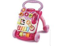 v tech pink first steps walker