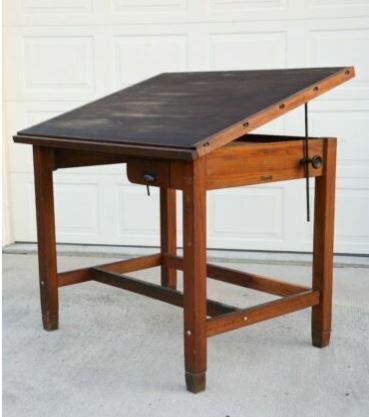 Antique 1930s Hamilton Drafting Table Oak Wood Desk Drawer LOCAL PICKUP ONLY