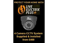 CCTV system supply and fit - 4 Cameras and a Recorder - from £469