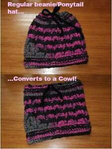 Convertible hat/pony tail hat/cowl