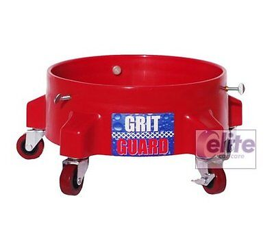 Grit Guard Detailing Bucket Dolly in RED - Strong & Durable with 5 Castors - Red Grit Guard