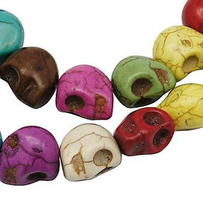 30 x Semi Precious Turquiose Skull Beads Choice of 10 Colours12mm ~ lady-muck1