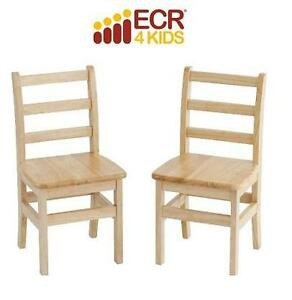 "2 NEW ECR4KIDS ASSEMBLED CHAIR 14"" NATURAL - LADDERBACK ASSEMBLED CHAIR 104384825"