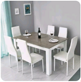Grey Oak dining table and 6 furniture leather chairs