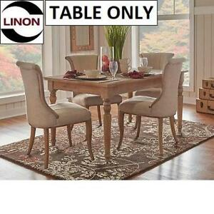 NEW* LINON 59'' DINING TABLE W03486L 212189432 FRENCH INSPIRED LIGHT NATURAL BROWN FINISH