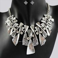 Vintage Crystal Twisted Pendants Silvery Chain Necklace Earrings