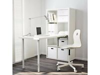 White and chrome desk and bookshelf