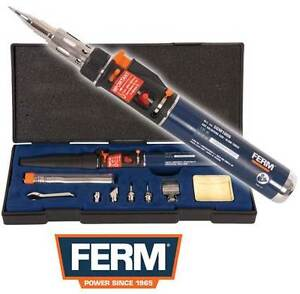 Ferm Butane Gas Soldering Iron Cordless Torch Kit Self Ignition + Case