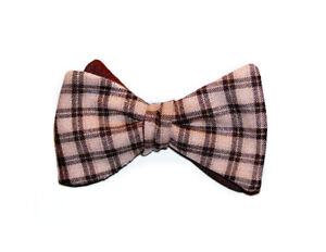 Plaid bow tie - Adjustable pink and brown checkers self-tie bowtie