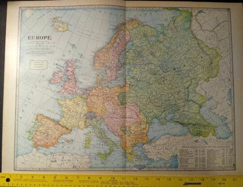 1904 Europe Monarch Standard Atlas Map 16 inch x 22  inch Beautiful Color M66