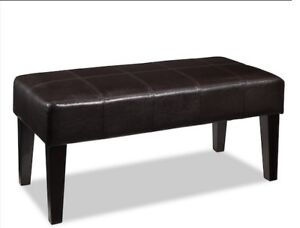 Faux Leather bench Ottoman-Espresso