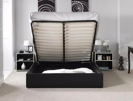 GERMAN WOOD #Double Leather Bed Frame orthopedic Mattress- Single and Double available