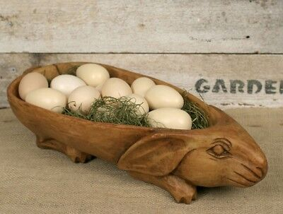 BUNNY Centerpiece BOWL*Primitive/French Country Farmhouse Decor*Wood Style - Bunny French