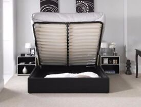 BLACK AND BROWN **BRAND NEW GAS LIFT UP STORAGE Double LEATHER BED & DEEP QUILTED MATTRESS