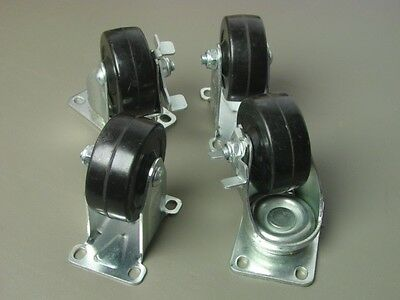 Set Of Four Procraft 3 Casters- 2 Swivel Wbrake And Two Rigid