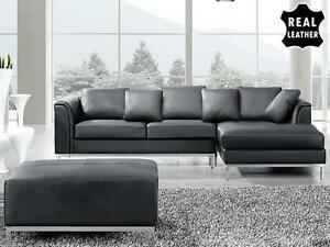 Sectional Leather Sofa - Couch with Ottoman - black OSLO