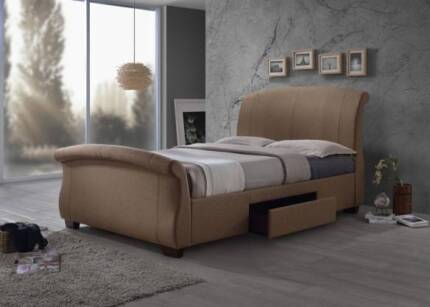 SLEIGH FABRIC BED WITH DRAWER (QUEEN SIZE)