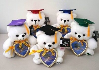 "9"" Graduation Plush Teddy Bear with Cap & Diploma Holding Heart Frame Assorted"