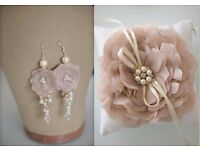 wedding set: ring pillow, earrings and hair flower with hairpin