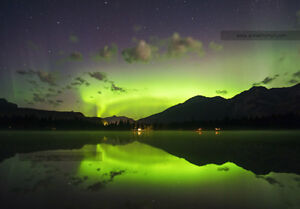 Canvas Print of Nothern Lights, Lake Edith, Jasper National Park