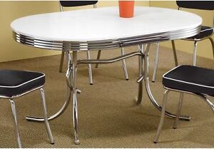 Vintage Dining Table 50u0027s Retro Diner Mid Century Chrome Small Kitchen Oval  New