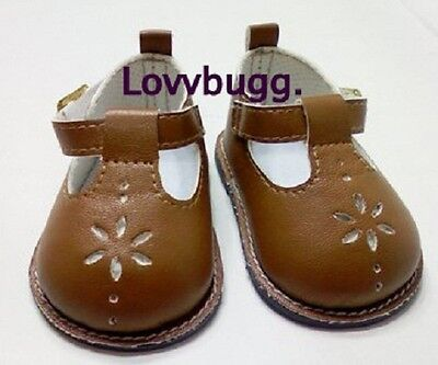 "Lovvbugg  Brown T-Strap Mary Janes Shoes for 18"" American Girl or Bitty Baby Doll Shoes"