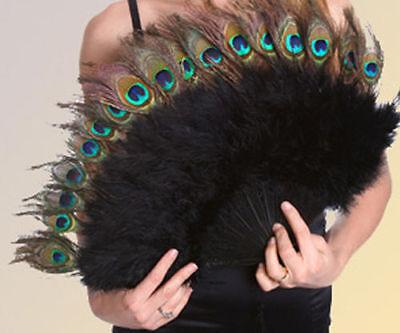 Marabou Fan w Peacock Eyes 15x27