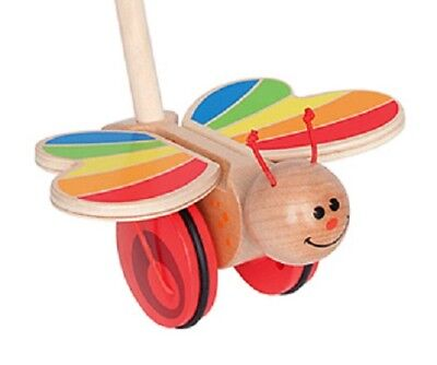 New HaPe Wooden Butterfly Push + Pull Toy, flapping wings, Classic Baby Toddler ()