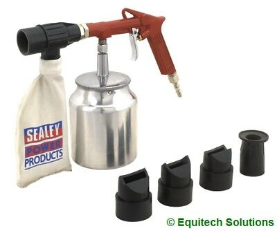 Sealey Tools SG10E Air Shot Sand Blaster Blasting Kit with Grit & Nozzles New